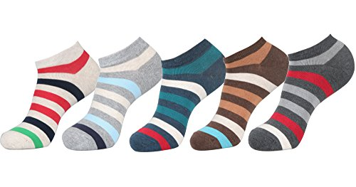 (Men's No Show Low Cut Fasion Casual Socks (One Size fit : Regular, Wide Stripe - 5Pair))