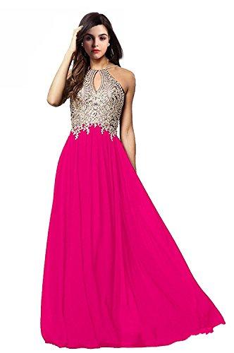 FeliciaDress Prom Dresses Halter Chiffon Applique Long Women Formal Evening Gowns 2018 (New Gorgeous Pink Evening Dress)