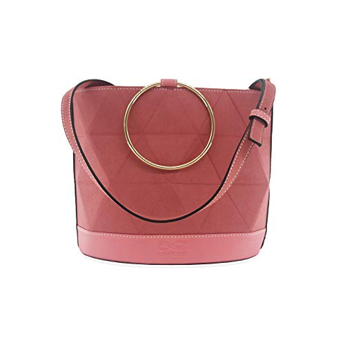 LEATURY Christmas Gift Female Classic Bucket Bag Tote Bag Pink Medium (10.2L6.1W8.4L in)