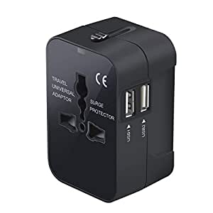 Travel Adapter,Worldwide All in One Universal Power Wall Charger AC Power Plug Adapter with Dual USB Charging Ports for USA EU UK AUS Cell Phone Laptop (Black)