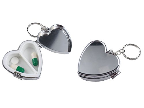 Pack of 2 Metal Heart Shape Pill Boxes Keychain Two Compartment Medicine Holder Container Vitamin Drug Case Organizer (Compartment Keychain)