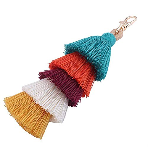 Colorful Boho Pom Pom Tassel Bag Charm Key Chain Summer straw bag hanging car pendant straw/bamboo purse ornaments or beach bag Pendant novelty creative keychain (B style) -