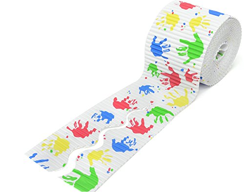 Handprints Design Corrugated Card Bordette Border Roll - 15.2m