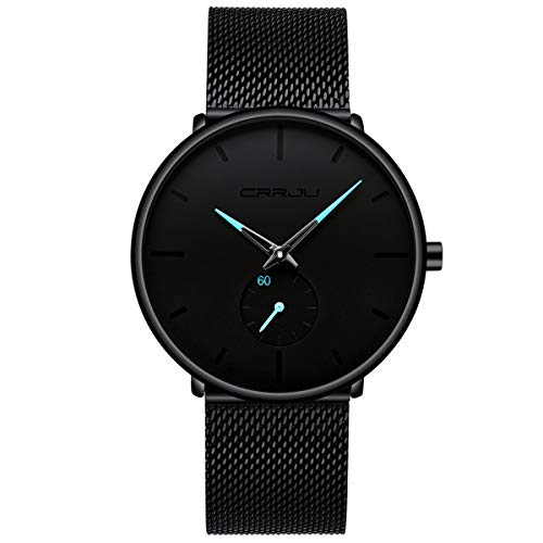 Men's Watch Unisex Minimalist Watch Waterproof Watch Classic Gift Mesh with Blue Pointer (Ford Black Dial)