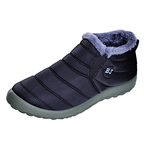 13e92194ab64 Memorygou Womens Ankle Boots Warm Fur Lining Waterproof Outdoor Slip-On  Winter Snow Booties Black