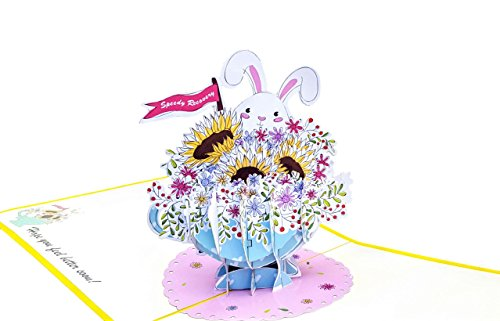 iGifts And Cards Inspirational Sunflowers Get Well Soon 3D Pop Up Greeting Card - Rabbit, Bunny, Floral, Teacup, Blank, Half-Fold, Feel Better, Speedy Recovery, Under The Weather, Cheer Up, Motivation