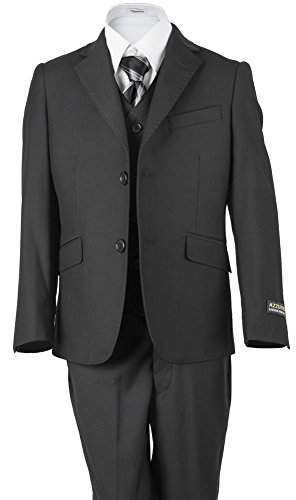 Azzurro Boys' Charcoal Gray 2 Button Pick stitched classic suit 3 Piece For Weddings, Ring Bearer Boy, Communions, Holidays, Birthday Party's, Choirs And All Special Events 5 Charcoal Gray by Azzurro