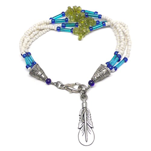 Pewter Feather Peridot Chips Four Strand Beaded Bracelet 7-1/8