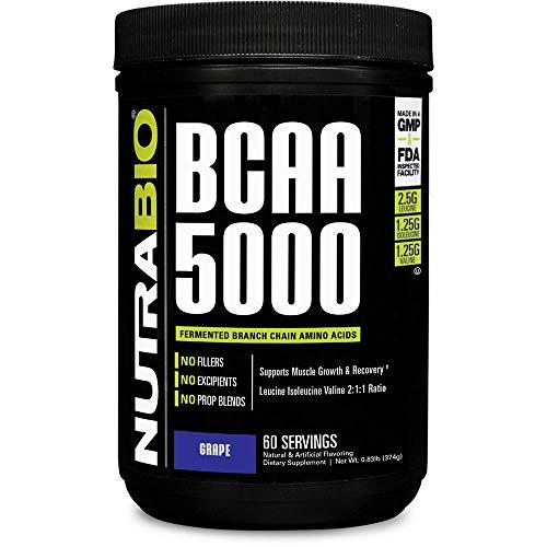 NutraBio BCAA 5000 Powder - 60 Servings (Grape)