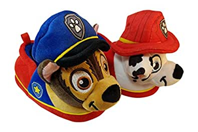 ACI International Paw Patrol Boys Slippers with Chase and Marshall Multi Size: 5-6 Toddler Red Blue
