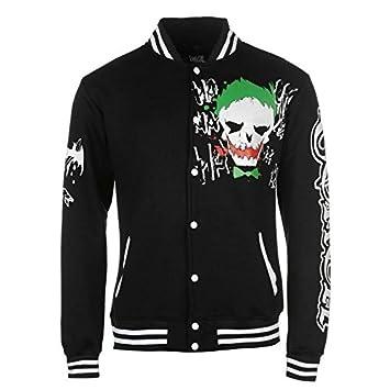 DC Comics El Joker Varsity - Chaqueta para Hombre Color Negro Chaquetas Abrigos Outerwear, Negro, Medium: Amazon.es: Deportes y aire libre