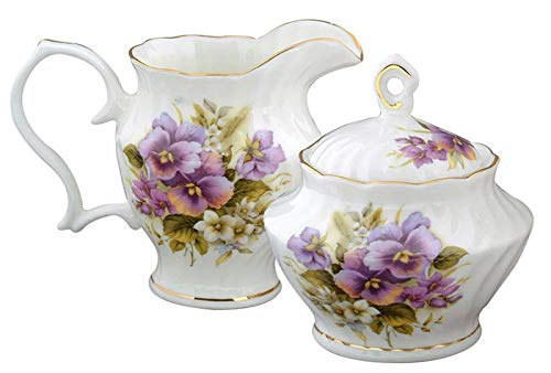 Fine Bone China Cream and Sugar Pansy -