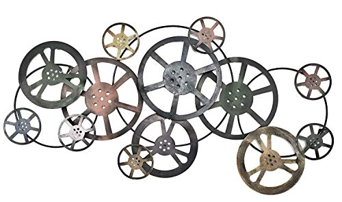 Bellaa 21833 Movie Reel Abstract Metal Wall Art Modern Contemporary Geomentry Home Decor 39 inch