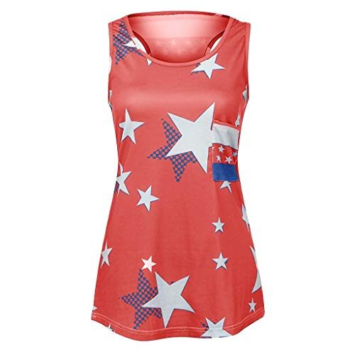 Yxiudeyyr 2019 4th of July Vest Women's American Flag Tank Tops Sleeveless Star Patriotic T Shirts Red