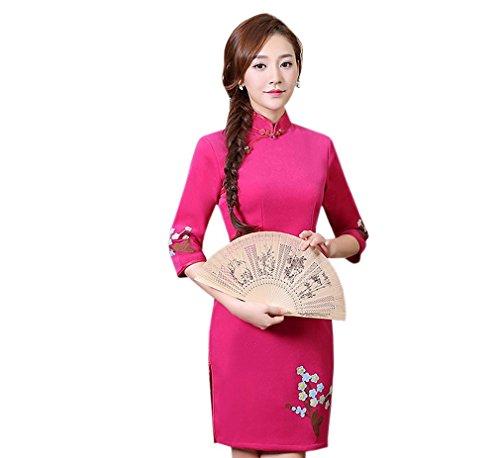 Blumen Sieben Etuikleid Rose rot Damen mit Punkten ACVIP Chinesische Mustern Ärmel 4g1PEq