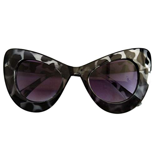 LODDD Women Classic Cat Eye Big Oversized Frame Sunglasses Thick Gothic Plastic Vintage Sunglasses ()