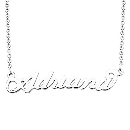 SexyMandala Personalized Name Necklace Initial Necklace Customized Sterling Silver Original Font Pendant Jewelry Same Day Shipping Gift for ()