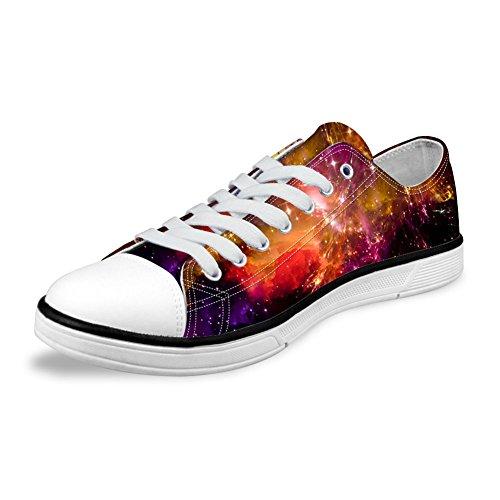 For U Design Stilig Unisex Galaxy Print Lerret Mote Sneaker Uformell Blonder-up Lav Toppen Flate Sko Galakse B1