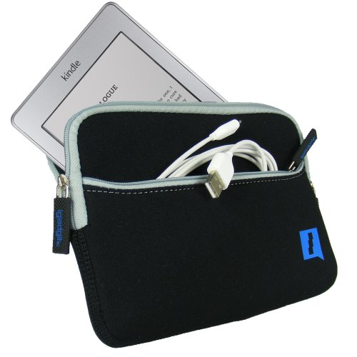 "iGadgitz Black Neoprene Sleeve Case Cover with Front Pocket for New Amazon Kindle Touch Wi-Fi 6"" E Ink Display Ereader 3G"