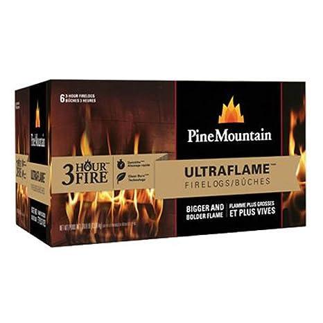 Amazon.com: Pine Mountain Ultraflame Firelog, 3-Hour Burn Time, 6 ...