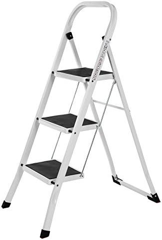 SONGMICS Escalera Plegable Robusto 3 peldaños, con Apoyabrazos Altura de trabajo 260 cm, Hasta 150 kg certificado por TÜV Rheinland de acuerdo con el estándar EN14183 GSL03WT: Amazon.es: Bricolaje y herramientas