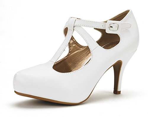 DREAM+PAIRS+OFFICE-5+Women%27s+New+Classic+Mary+Jane+Almond+Toe+High+Heel+Platform+Pumps+Shoes+White-PU+Size+9