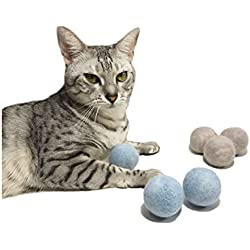 100% Wool Felt Cat Ball Toy- All Natural- Safe, Eco-Friendly-6 Pack- Blue/Gray