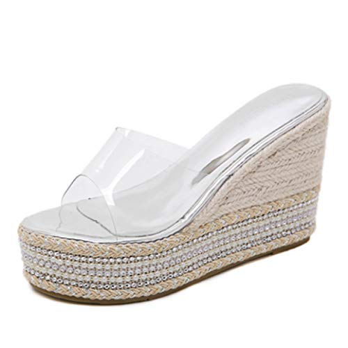 CYBLING Women's Espadrille Platform Wedge Heel Peep Toe Slide Sandals Fashion Summer PVC Transparent Slippers Sliver