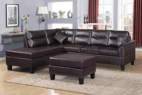 Harper & Bright Designs 3-Piece Sectional Sofa Set PU Leather Cushions Set with Ottoman (Brown PU ()