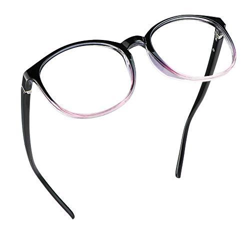 LifeArt Blue Light Blocking Glasses, Anti Eyestrain, Computer Reading Glasses with Spring Hinge, Gaming Glasses, TV Glasses for Women Men, Anti Glare (Black Purple, No Magnification)