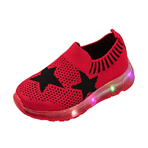 Kids LED Slip on Sneakers Star Breathable Lightweight Knit Light Up Shoes Boys Girls Walking Flashing Sneakers Red -