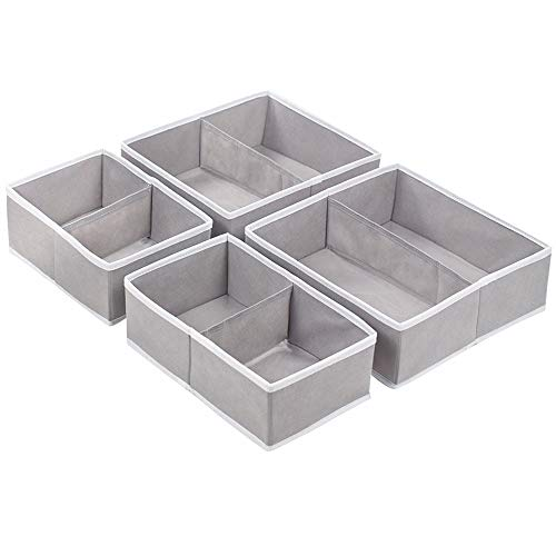 Homyfort Cloth Dresser Drawer Dividers -4 Pack, Flodable Cubes Boxes Containers Organizer Storage for Underwear, Bras, Socks, and Drawers, Closet, Shelf, Nursery, Cabinet (Grey 8 Section)