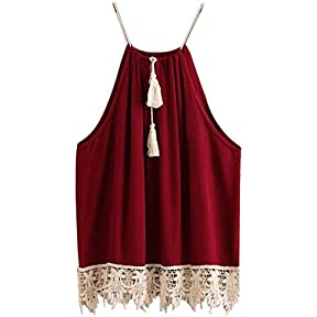 Women Tops, kaifongfu Lace Trimmed Tasselled Drawstring Blouse Tank Tops T shirt