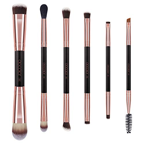 - Docolor Makeup Brushes Duo End 6Pieces Professional Make Up for Eyeshadow Blending Powder Foundation Buffer and Contour Synthetic Cosmetic Tools