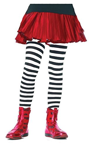 Children's Striped Tights Hosiery - X-Large (Kids Black And White Striped Tights)