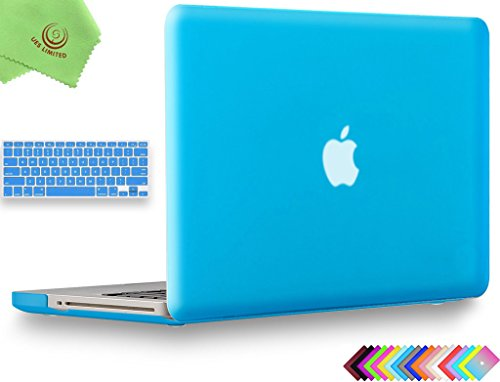 """UESWILL 2in1 Smooth Soft-Touch Matte Frosted Hard Shell Case with Silicone Keyboard Cover for MacBook Pro 13"""" with CD-ROM (Non-Retina)(Model:A1278)+ Microfibre Cleaning Cloth, Aqua Blue"""