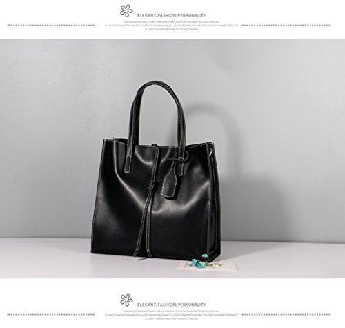 Bag Large Women Genuine Capacity Durable Black Shopping Shoulder Bag Leather 301222Cm Hand Fashion KING For Simple MIMI Bags IZzX4f