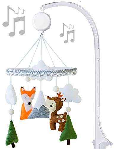 Music Baby Mobile with Crib arm Felt Handmade Baby Shower Gift for Girl or Boy (Woodland) from ARTISTRO