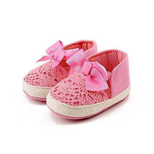 Tefamore Primavera suave Sole Girl Baby primeros caminantes zapatos de moda mariposa-nudo zapatos Rosado