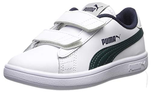 PUMA Smash V2 Velcro Sneaker white-ponderosa pine-peacoat 13 M US Little Kid