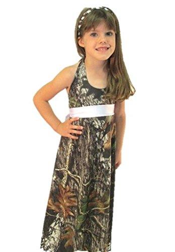 Camo Diva Katelyn Toddler and Youth Girls Camo Dress (Medium (7 - 8), White) (Toddler Mossy Oak Flower Girl Dress)