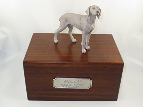 Beautiful Paulownia Medium Wooden Urn with Weimaraner Figurine & Pewter Personalized Engraving
