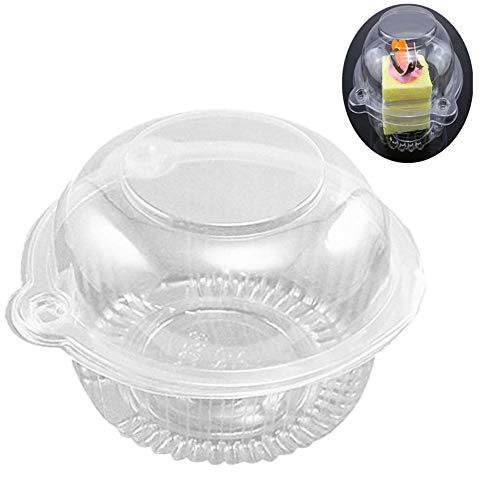 50 Pack Clear Plastic Single Individual Cupcake Muffin Dome Holders Cases Boxes Cups Pods (Single Cupcake Carrier)