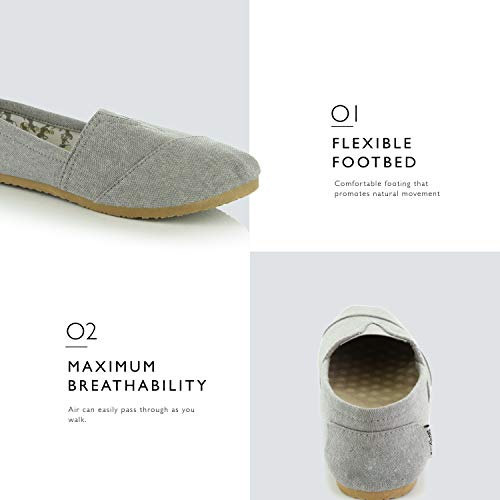 Shoes on Memory Cushioned Flats Casual Sneaker Linen Flat Ash Women's Slip Grey Daily DailyShoes Classic Soft Foam CFzOqBU