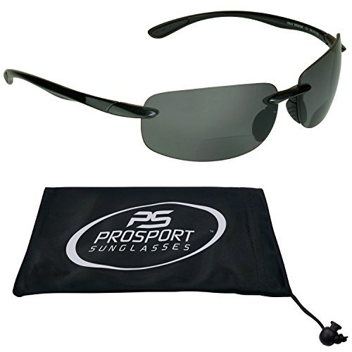 (Bifocal Polarized Sunglasses 1.50 for Men and Women. Light Rimless Style with TAC Polarized Smoke Lenses. Free Microfiber Cleaning Case Included.)