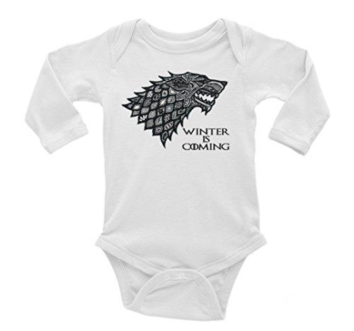 Game of Thrones Direwolf House of Stark Winter is Coming Long Sleeve Unisex Onesie (0-3) ()
