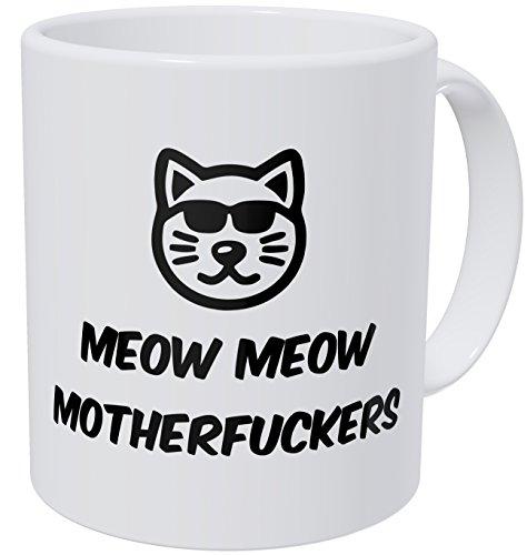 Wampumtuk Meow Meow Cool Cat Face Glasses 11 Ounces Funny Coffee Mug