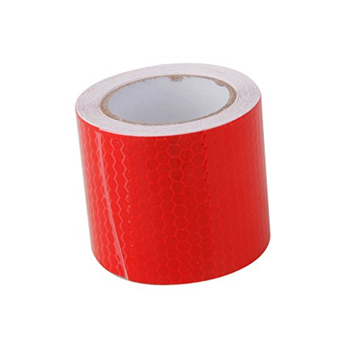 - D DOLITY 2 inch X 10ft Reflective Tape Red Safety Warning Stickers - Reflector Tape Waterproof Outdoor