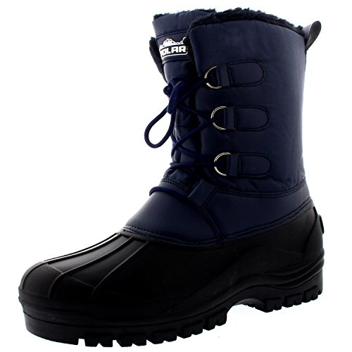 Polar Mens Muck Lace Up Short Nylon Winter Snow Rain Lace Up Casual Duck Boots - 14 - NAV47 YC0143