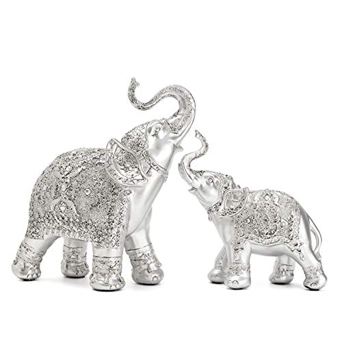 (Feng Shui Elephant Collectible Home Decoration Figurine Statue Wealth Lucky Gift Silver Color Polyresin Set of 2)